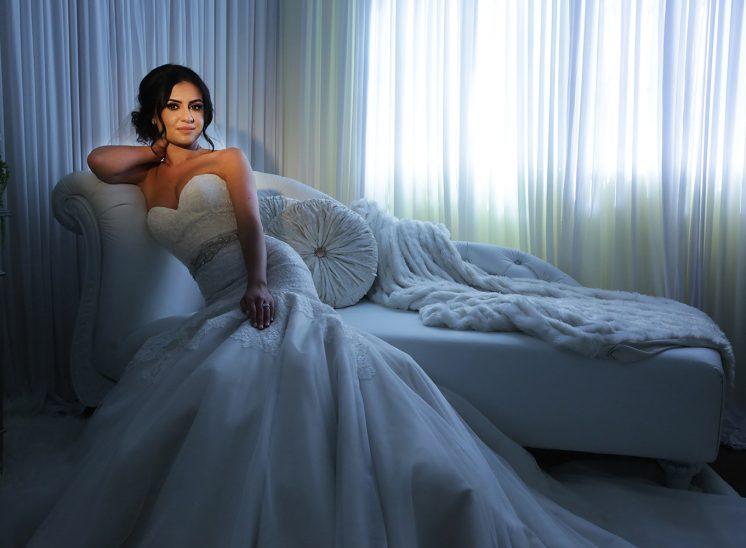 Beautiful Bride on the couch